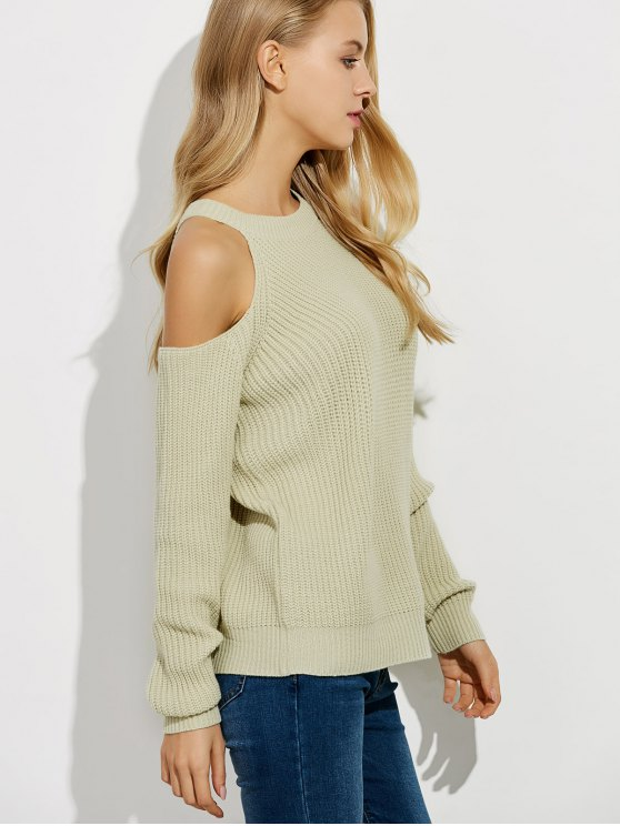 Cold Shoulder Crew Neck Ribbed Sweater - BEIGE XL Mobile