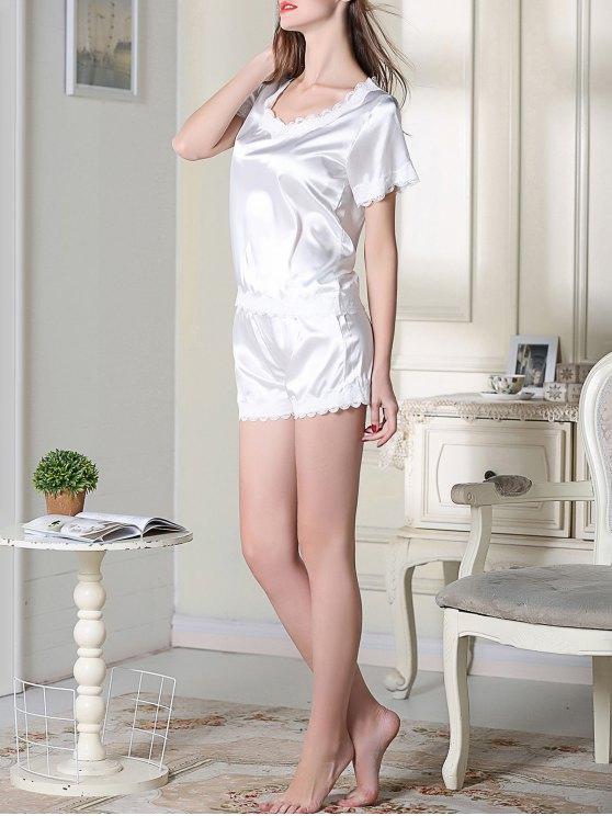 Satin Scoop Tee Boxer Pajama - WHITE M Mobile