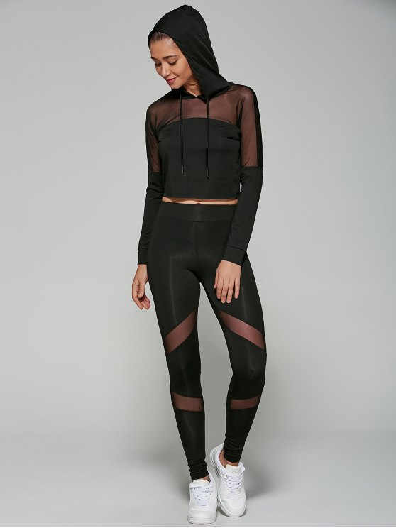 affordable Cropped Hoodie with Mesh Leggings - BLACK S