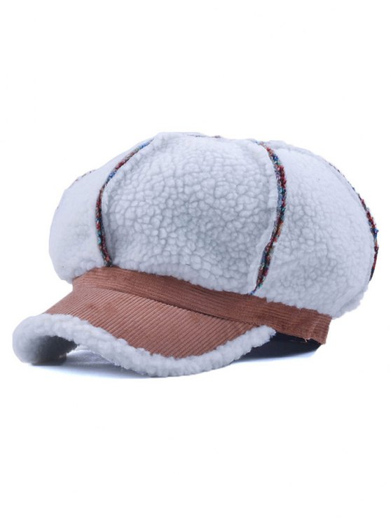 Striped Flocking Curved Brim Hat - KHAKI  Mobile
