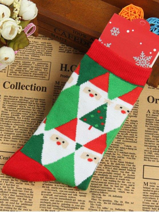 Pair of Knitted Christmas Diamond Jacquard Socks -   Mobile