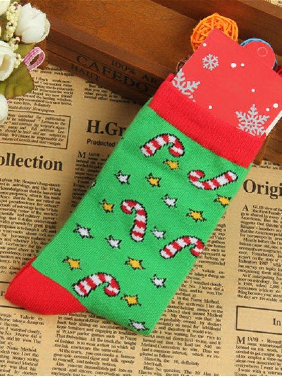 Pair of Christmas Jacquard Knitted Socks - GREEN  Mobile