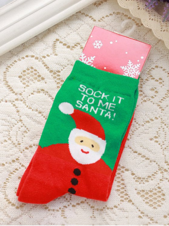 Pair of Letter Jacquard Christmas Knitted Socks -   Mobile