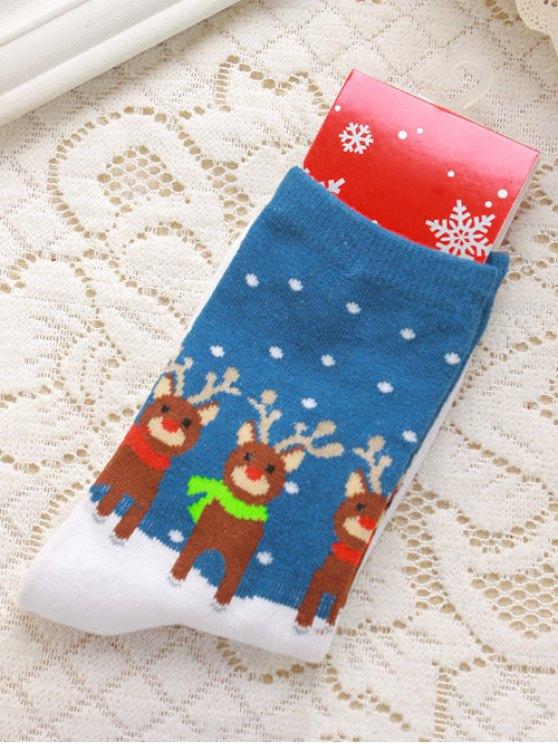 Pair of Christmas Deer Jacquard Knitted Socks -   Mobile