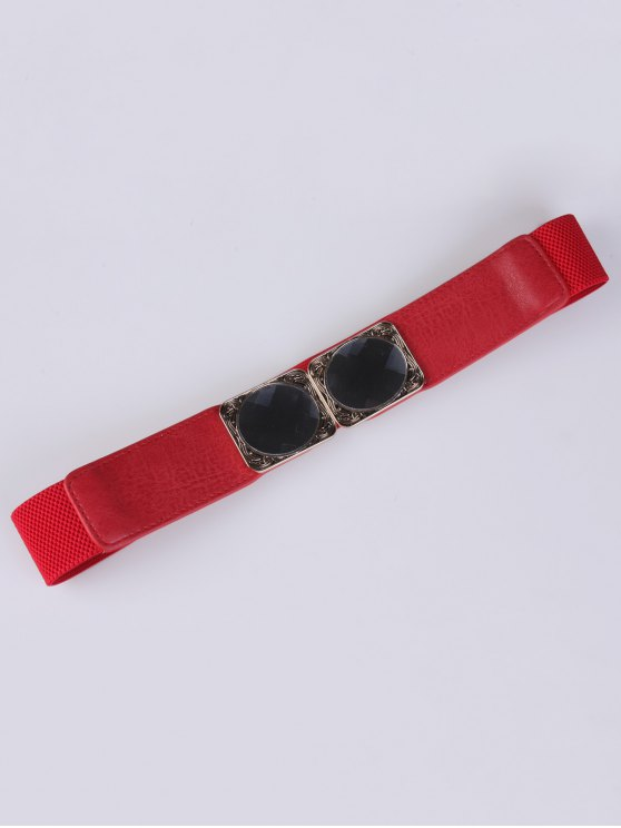 Faux Opal Elastic Waist Belt - RED  Mobile
