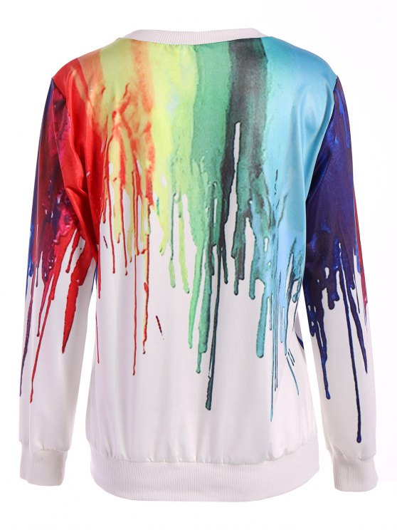 Oversized Splatter Paint Sweatshirt - WHITE ONE SIZE Mobile