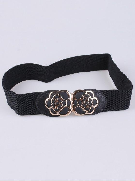 outfit Rose Carve Elastic Waist Belt - BLACK