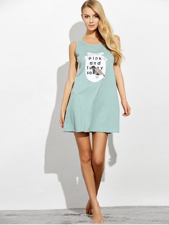 Letter Print Casual Night Dress - LIGHT GREEN 2XL Mobile