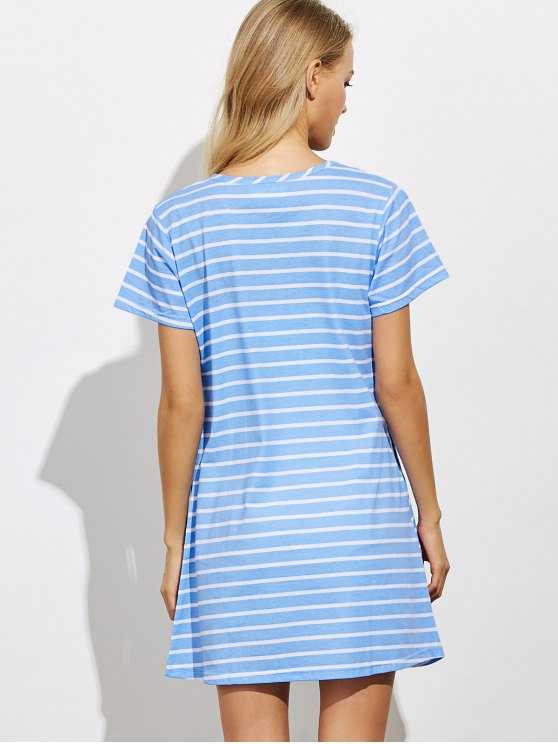 Casual Striped Night Dress - BLUE L Mobile