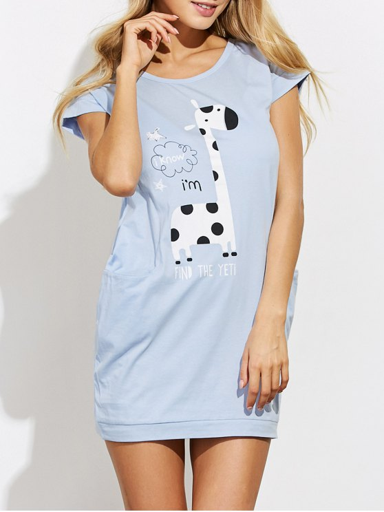Cartoon Print Casual Night Dress - LIGHT BLUE M Mobile