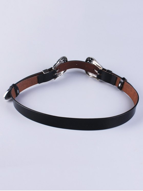 Openwork Double Buckle Faux Leather Belt -   Mobile