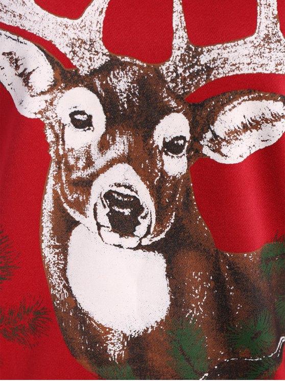 Sika Deer Christmas Sweatshirt - RED ONE SIZE Mobile