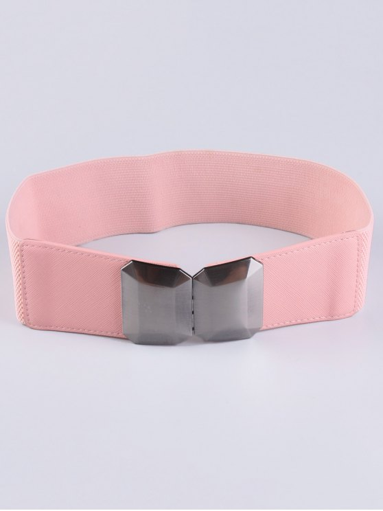 Smooth Alloy Buckle Elastic Waist Belt - PINK  Mobile