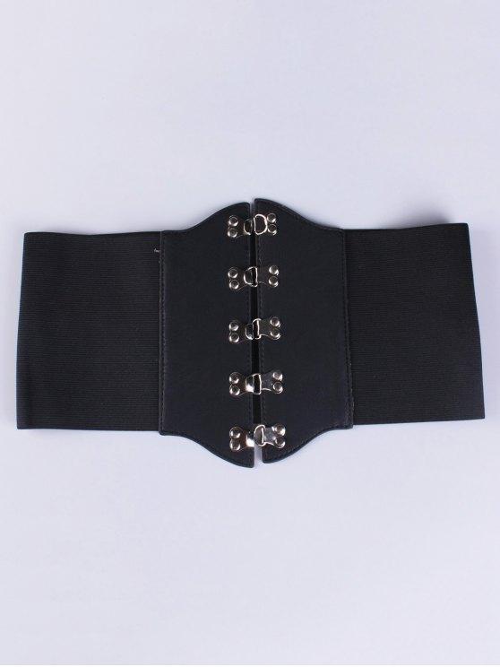 buy Hasp Elastic Corset Belt - BLACK
