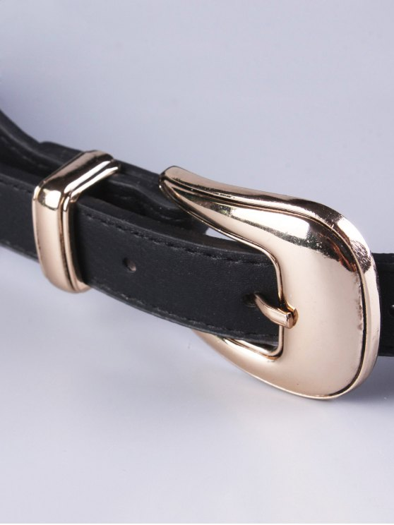 Double Buckle Elastic Waist Belt - BLACK  Mobile