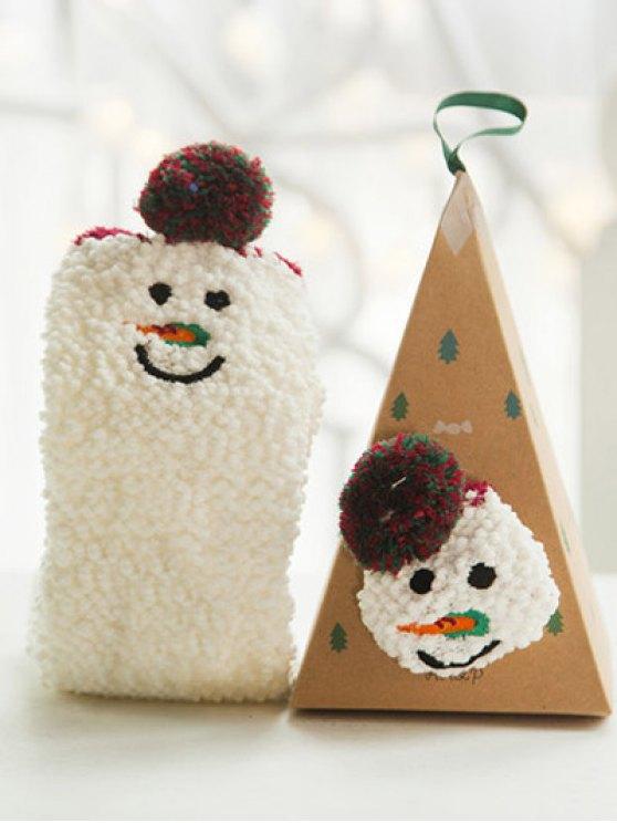 Cartoon Snowman Coral Fleece Socks - WHITE  Mobile
