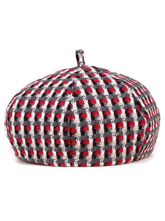 Crochet Plaid Painter Beret - RED  Mobile