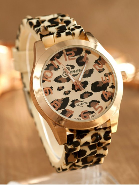 Leopard Silicone Band Quartz Watch - BROWN  Mobile