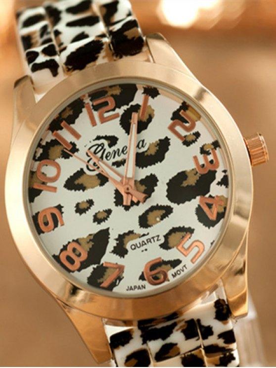 Leopard Silicone Band Quartz Watch - WHITE  Mobile