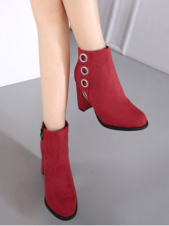 Zip Chunky Heel Metal Ring Ankle Boots - RED 37 Mobile