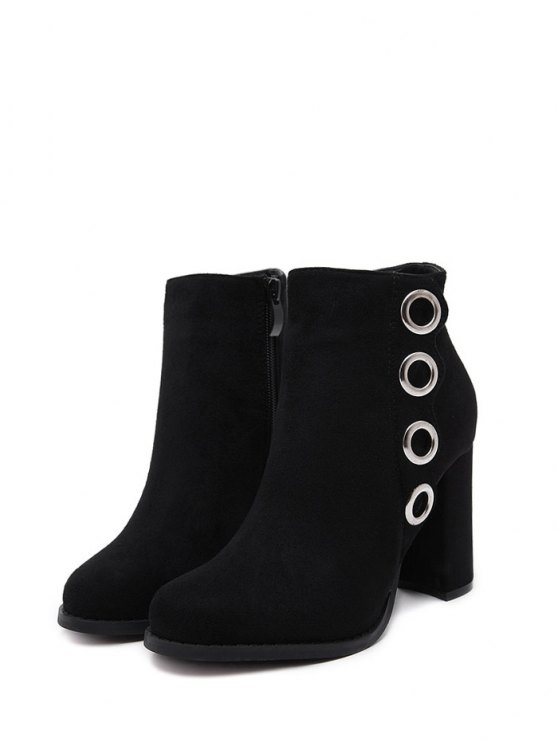 Zip Chunky Heel Metal Ring Ankle Boots - BLACK 37 Mobile