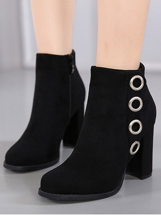 Zip Chunky Heel Metal Ring Ankle Boots - BLACK 38 Mobile