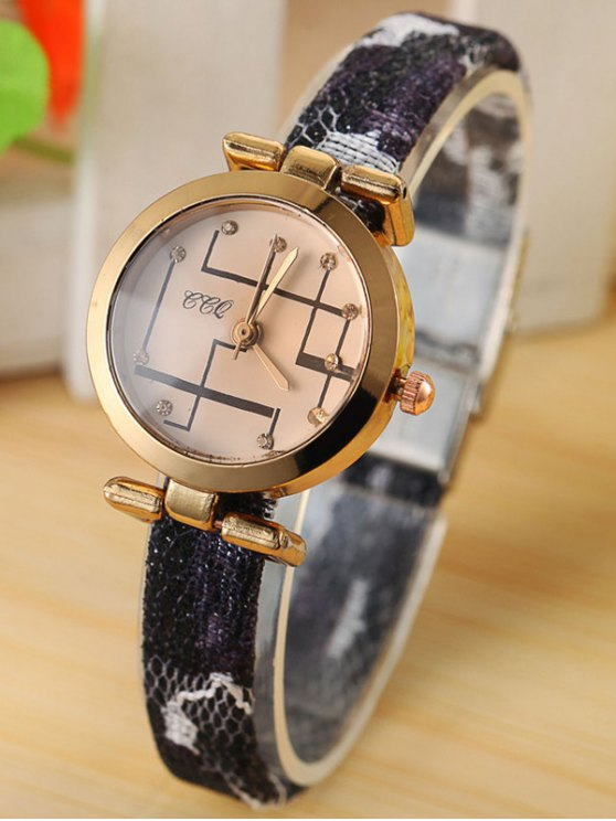 Rhinestone Analog Quartz Watch - BLACK  Mobile