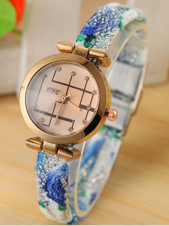 Rhinestone Analog Quartz Watch - BLUE  Mobile