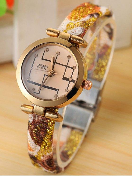 Rhinestone Analog Quartz Watch - GOLDEN  Mobile