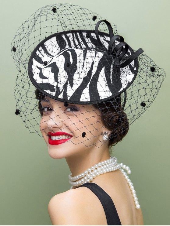 Veil Zebra Striped Fascinator Cocktail Hat - WHITE AND BLACK  Mobile