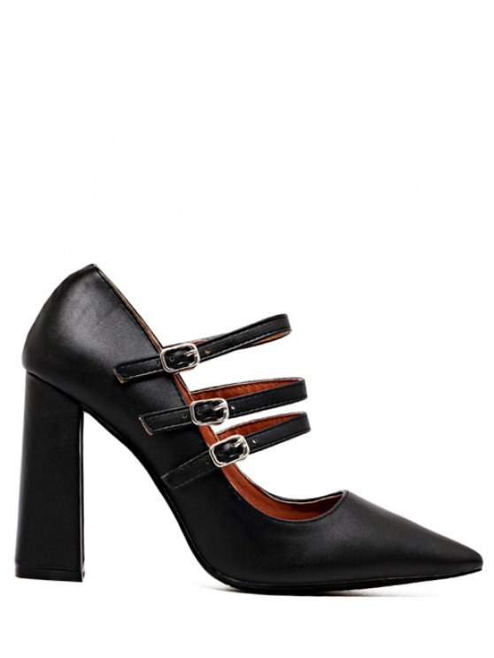 Pointed Toe Chunky Heel Buckles Pumps - BLACK 39 Mobile