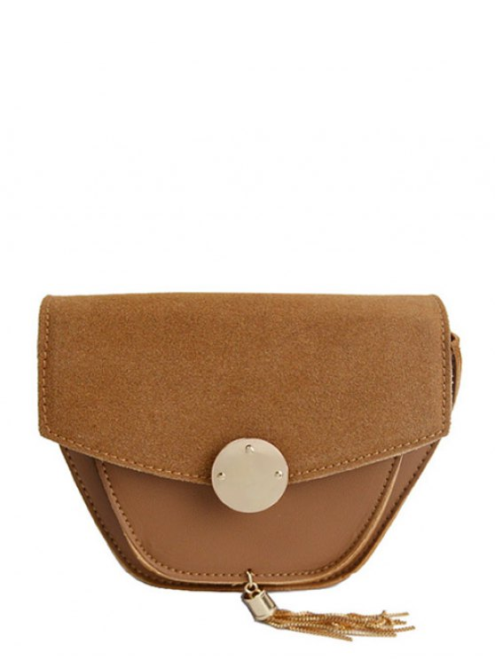 Suede Panel Metallic Tassel Crossbody Bag - BROWN  Mobile