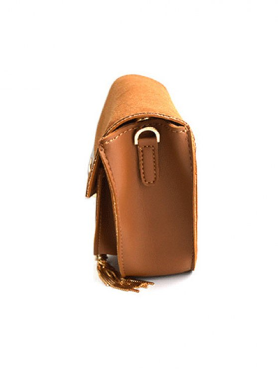 Suede Panel Metallic Tassel Crossbody Bag - BROWN  Mobile