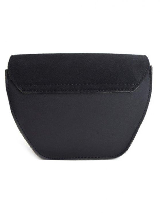 Suede Panel Metallic Tassel Crossbody Bag - BLACK  Mobile