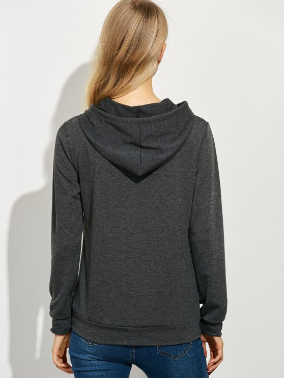 Casual String Printed Hoodie - DEEP GRAY M Mobile