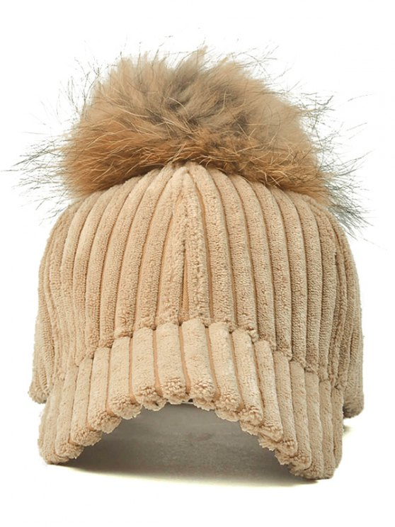 Pom Ball Corduroy Baseball Hat - LIGHT KHAKI  Mobile