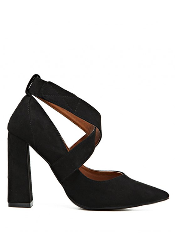 Cross Straps Chunky Heel Pointed Toe Pumps - BLACK 38 Mobile