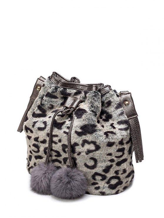 affordable Pompon Leopard Furry Bucket Bag - GRAY