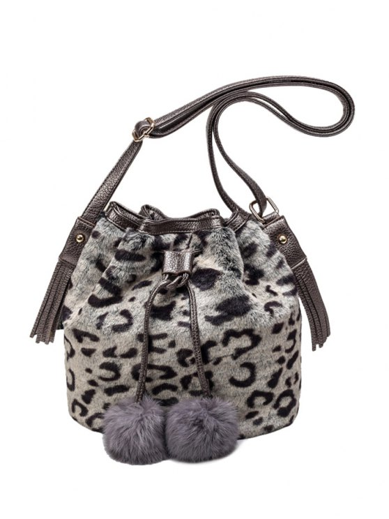 Pompon Leopard Furry Bucket Bag - GRAY  Mobile