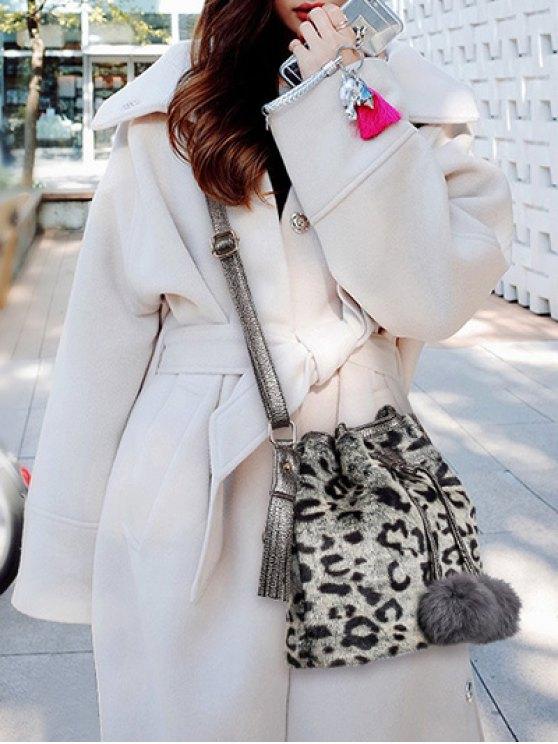 Pompon Leopard Furry Bucket Bag - GRAY  Mobile