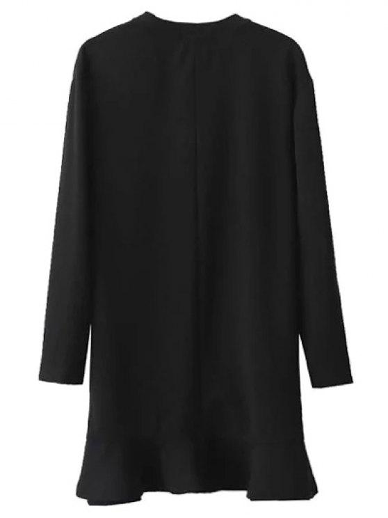 Sequins Floral Embroidered Dress - BLACK L Mobile
