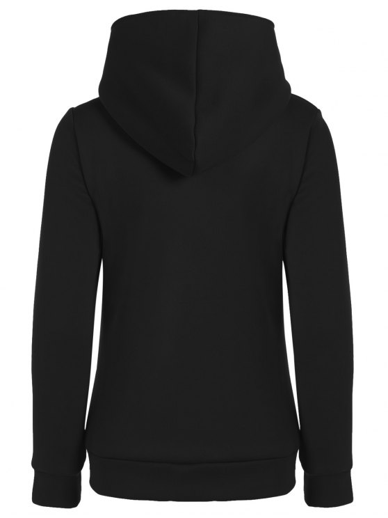 Fleece Inner Asymmetric Zip Hoodie - BLACK L Mobile