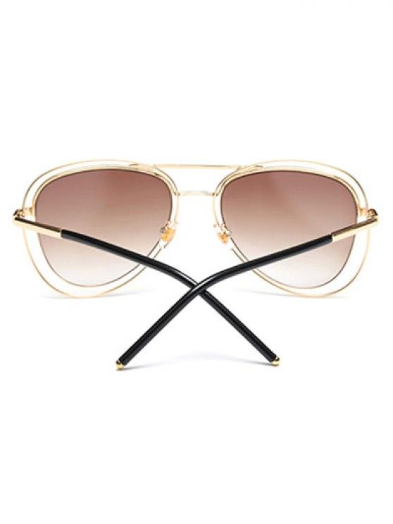 Double Rims Metal Pilot Sunglasses -   Mobile