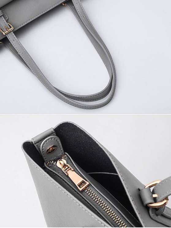 Buckle Strap PU Leather Handbag Set - GRAY  Mobile
