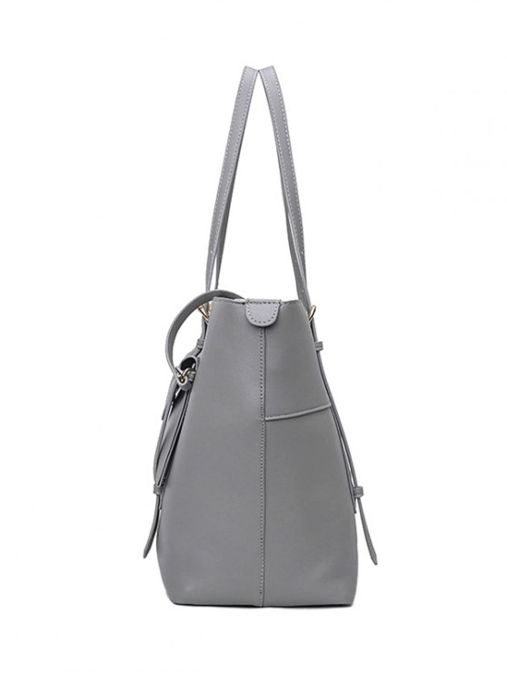 Buckle Strap PU Leather Handbag Set -   Mobile