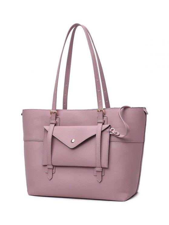Buckle Strap PU Leather Handbag Set - PINK  Mobile