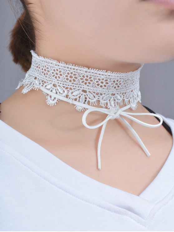 Lace Bows Flower Choker Necklace - WHITE  Mobile