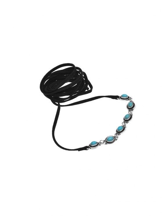 Faux Turquoise Bows Choker Necklace - BLACK  Mobile