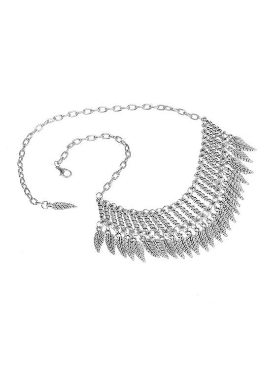 Embellished Leaf Necklace -   Mobile