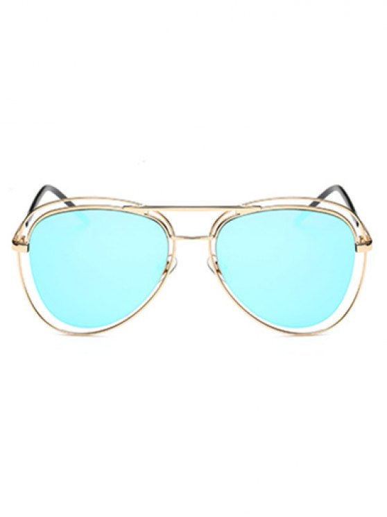 Double Rims Mirrored Pilot Sunglasses - ICE BLUE  Mobile